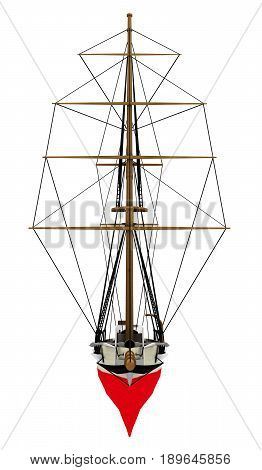 Computer generated 3D illustration with a front view of a gaff schooner isolated on white background