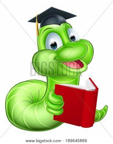 Cute smiling green cartoon caterpillar worm bookworm mascot reading a book and wearing mortar board graduation hat