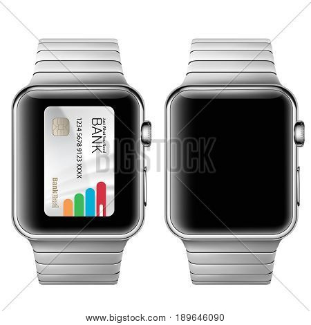 Vector illustration in a realistic style the concept of e-payments using the application on your wrist watch. Illustration of the wrist watch on white
