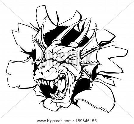 An illustration of a snarling dragon head bursting through a wall