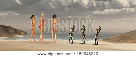 Computer generated 3D illustration with attractive women and dwarfs at the beach