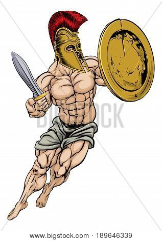 An illustration of a muscular strong Trojan Warrior