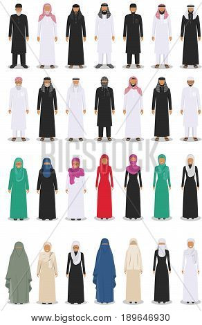 Detailed illustration of different standing arab men and women in the traditional national muslim arabic clothing isolated on white background in flat style.