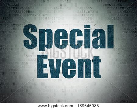 Business concept: Painted blue word Special Event on Digital Data Paper background