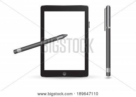 Stylus design concept. Tablet vector illustration. Device
