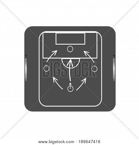 Soccer coach tablet with scheme of game icon. Football tactic icon