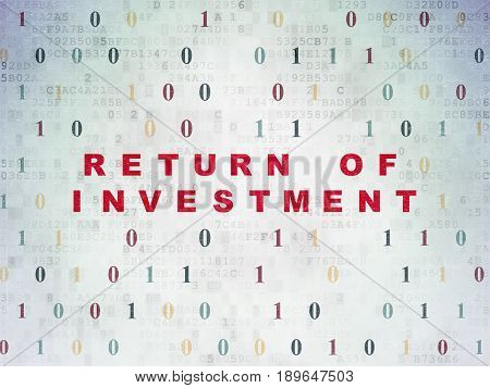 Finance concept: Painted red text Return of Investment on Digital Data Paper background with Binary Code