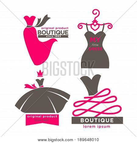 Modern fashion boutiques promotional logotypes set with grey and pink long, short or ball gowns flat vector illustrations on white background. Original product since 1863. My little dress label.