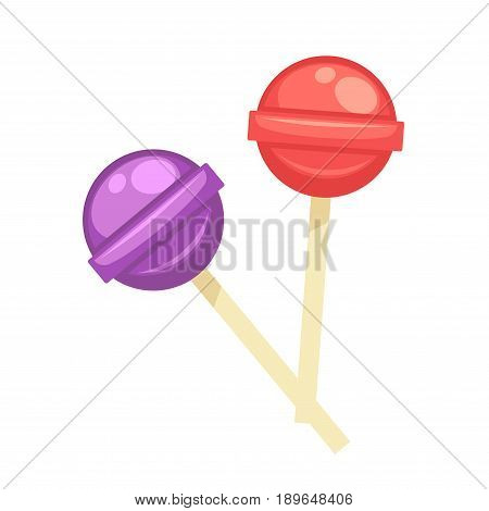 Sweet tasty round lollipops of purple and red colors on wooden sticks isolated vector illustration on white background. Delicious confectionary products cartoon picture, tasty sugar caramel candies
