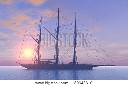 Computer generated 3D illustration with a gaff schooner at sunset