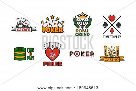 Poker game logotypes colorful collection isolated on white. Vector poster of gambling establishment badges with playing cards and other round equipments. Greeting labels to royal casino template