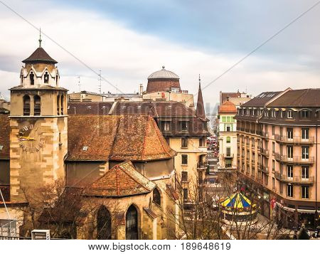 View of the roofs of Old Town and Protestant Church Temple de la Madeleine, Geneva, Switzerland
