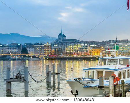 GENEVA, SWITZERLAND - DECEMBER 6, 2013: Lake Geneva and view of Geneva city, Switzerland