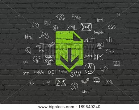 Web development concept: Painted green Download icon on Black Brick wall background with  Hand Drawn Site Development Icons