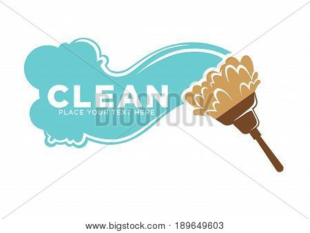 Cleaning services colorful logotype for commercial with blue water wavy trace and fluffy brush on glossy plastic brown stick isolated vector illustration on white background. Place your text here.