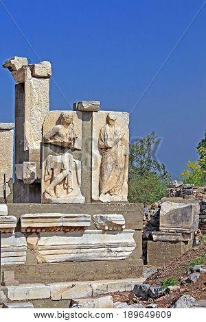 Relief in Ephesus. Ancient Greek city on the coast of Ionia near Selcuk. Izmir province. Turkey. Asia Minor