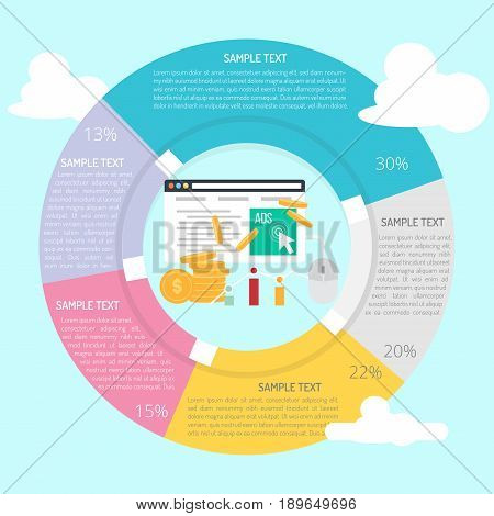 Paid Per Click Infographic | set of vector diagram illustration use for presentation, business, marketing and much more.The set can be used for several purposes like: websites, print templates, presentation templates, and promotional materials.