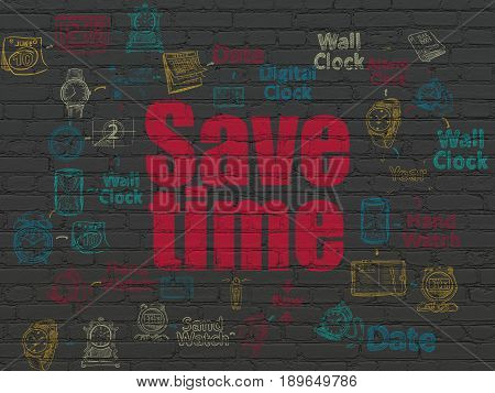 Timeline concept: Painted red text Save Time on Black Brick wall background with Scheme Of Hand Drawing Time Icons