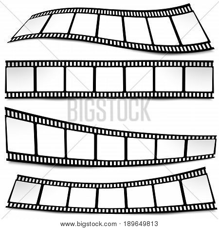 Film, Movie, Photo, Filmstrip On White In Black And White Colors