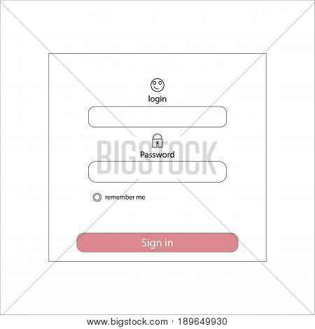 Login form. Sign in. Vector illustration. Site