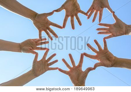 Teamwork Concept With People Touching Hands