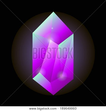 Crystal gemstone or precious gem stone vector icon. Vector shining jewel or sparkling diamond of pink ruby or blue opal on black background