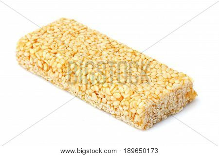 Candy bar with sesame seeds.Isolated on white background.