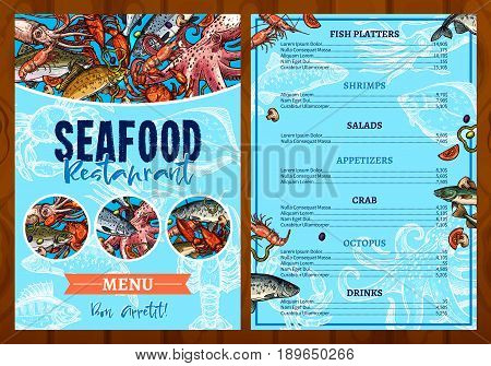Seafood or fish food restaurant menu template. Vector price design for fishing catch dishes of fish platter, shrimps and mussels or fresh oysters. Appetizers of salmon, crab and octopus or tuna