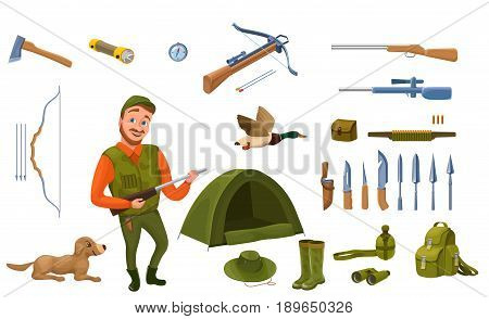 Hunter cartoon set with male character, dog, guns, hat, compass, tent, crossbow, bow, arrows, bullet, knife, spear, rubber boots, rucksack, flashlight vector illustration