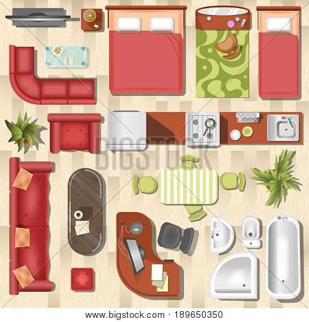 Apartment or flat furniture and interior layout top view. Vector home rooms of kitchen, toilet, bedroom and living room with sofa, table and chairs, bathtub or sink and armchair