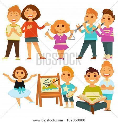 Happy children in kindergarten activity or playing games. Vector flat icons set of boy child play music on flute or cymbal and singing, young girl kid dancing ballet, reading book or painting picture