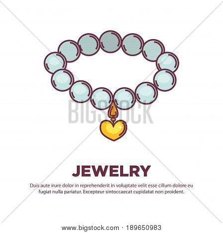 Jewelry pearl beads necklace or bracelet with golden heart pendant. Vector flat isolated icon of handmade bijouterie decoration collar for jeweler shop