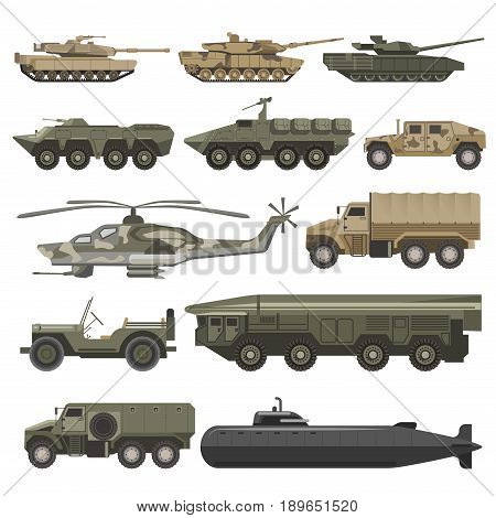 Military transport and army wartime machines. Vector isolated flat icons of helicopter, submarine or bomb truck and weapon tank, armored camouflage cars and aircraft vehicles