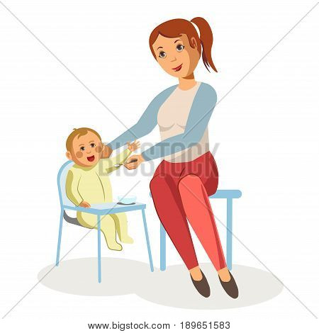 Mother feeding newborn child with spoon sitting in baby carriage table. Vector isolated flat design illustration for motherhood nursing