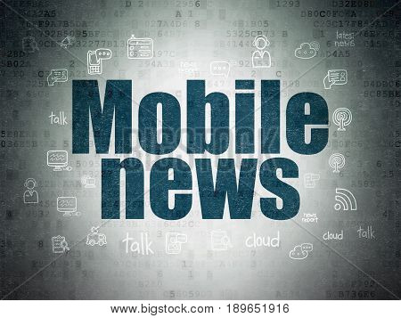 News concept: Painted blue text Mobile News on Digital Data Paper background with  Hand Drawn News Icons