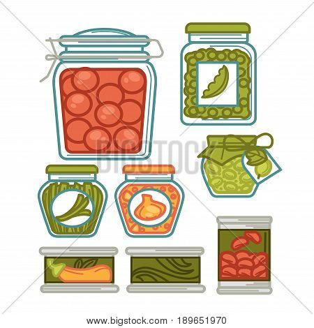 Preserves vegetables food and pickles in jar glass pots. Homemade pickled tomatoes, gherkin cucumbers and green peas or beans, olives and onion. Vector isolated flat icons set