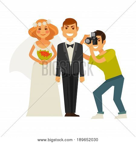 Wedding photographer taking photography with camera of couple bride and groom. Vector flat icons of man and woman on photo shoot