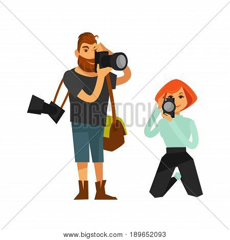 Photographers shooting with photo cameras. Man journalist reporter or woman paparazzi taking picture shots standing and on knees. Vector flat isolated icons