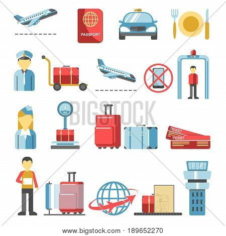 Airport pictograms vector isolated set. Isolated icons for air travel service infographics or design elements of airplane, passenger luggage or taxi service, customs and passport control counter