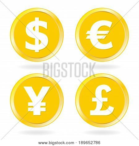 Dollar Euro Yen Pound sterling. Gold coins icon set. Vector illustration.