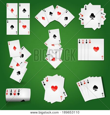 Playing cards for casino poker or solitaire game. Vector icons of card deck with suits of ace hearts, joker clubs or queen diamonds and king spades on green gambling table background