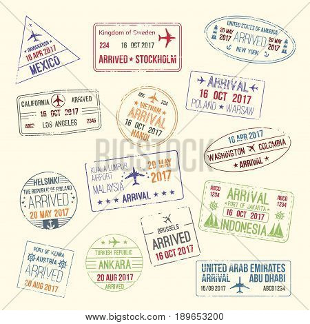 Passport travel stamps icons set with city names of Mexico, Stockholm and California or New York. Vector isolated symbols of country entry or arrival by airplane and stamped by migration officer