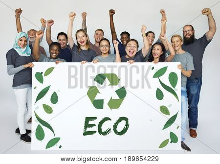 Group of Diverse People Showing Recycle Sign Eco Friendly Save Earth Word Graphic
