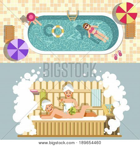 Sauna and swimming pool flat vector for bathing spa relax or summer beach holiday vacations. Woman in steam room washing in soap bubbles or swim in water under sun