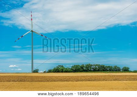 Clean Wind Energy. Wind Turbine and the Open Space Landscape.