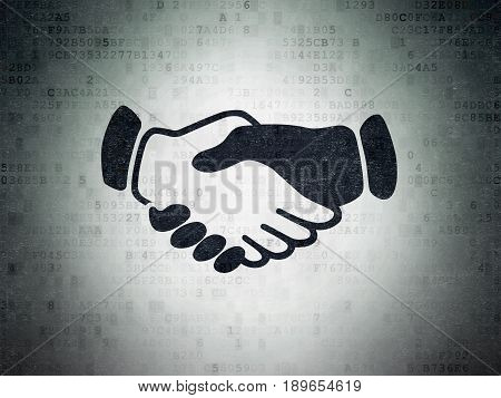 Politics concept: Painted black Handshake icon on Digital Data Paper background