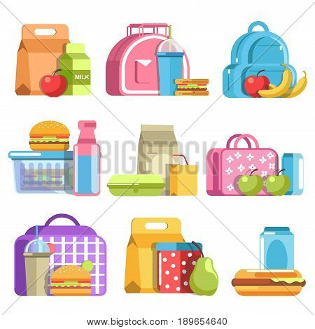 School lunch and meal boxes, breakfast food containers, packs and bottles with pupil rucksack or backpack. Vector flat isolated icon of cheeseburger sandwich, fruits or desserts and drinks