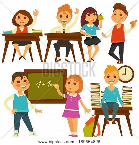Children in school at lessons. Boy sitting at desk with lifted hand and books, girl drawing equation on blackboard and pupils at lunch break. Vector flat isolated education icons set