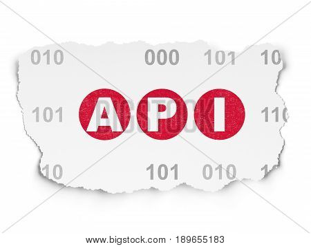 Software concept: Painted red text Api on Torn Paper background with  Binary Code