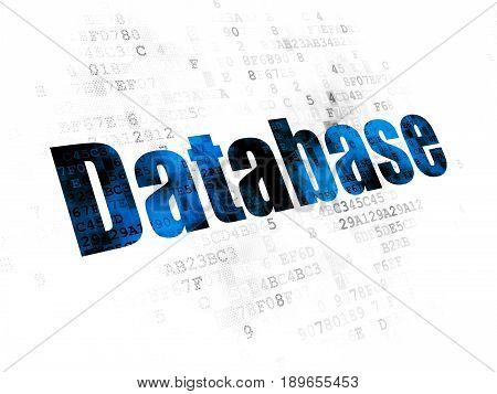 Database concept: Pixelated blue text Database on Digital background
